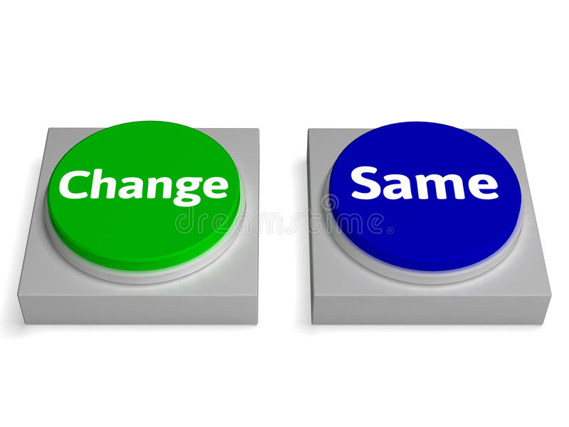 改变同样按钮展示改变或改善 皇族释放例证