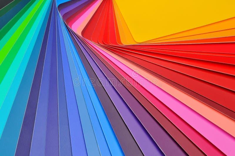 改变方向彩色卡片样品  免版税库存照片
