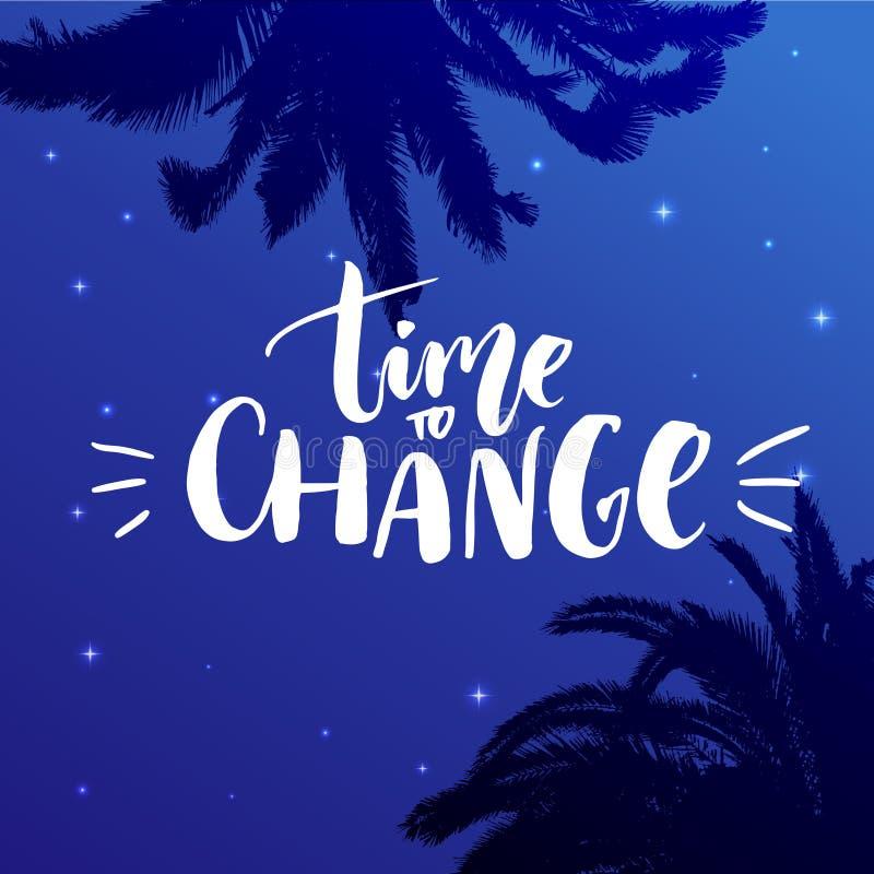 更改时间 在繁星之夜背景的激动人心的行情与棕榈剪影 皇族释放例证