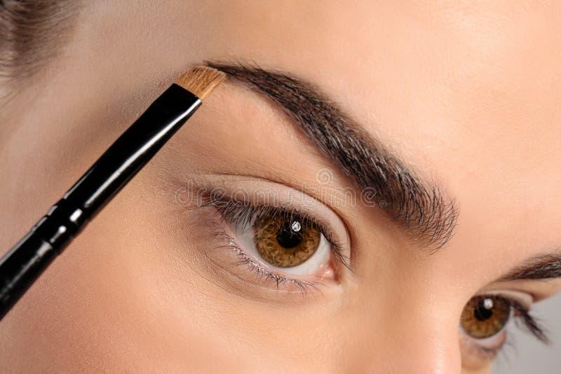 改正与刷子,特写镜头的少妇眼眉形状 库存图片