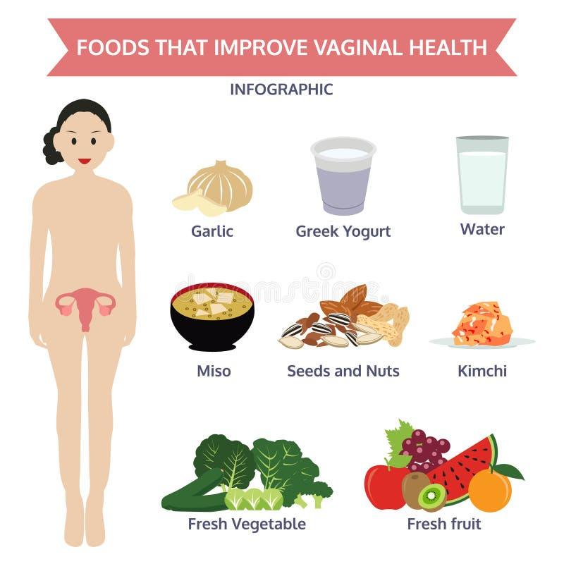 改进阴道健康信息图表食物的食物, ico 库存例证