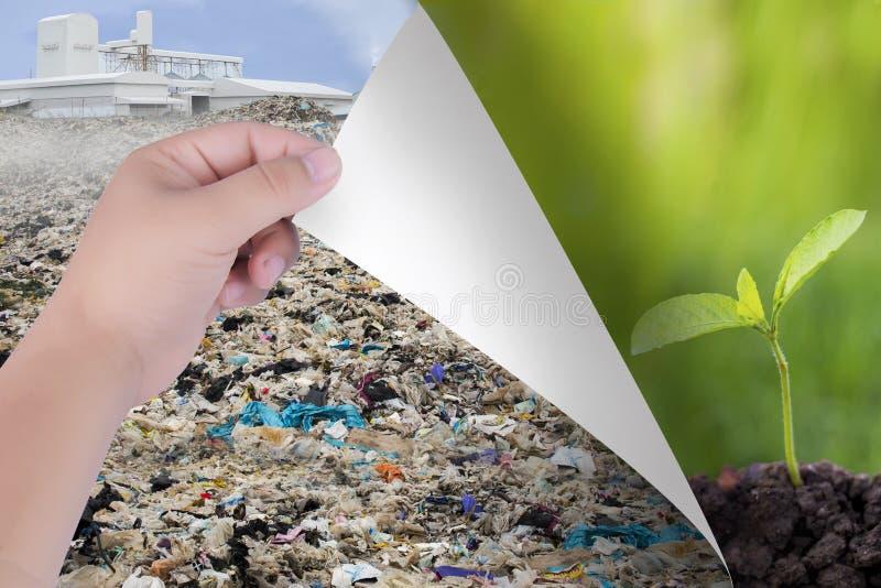 改造世界用我们的手 从污染物到自然风景或树 环境保护和envi的启发 库存照片