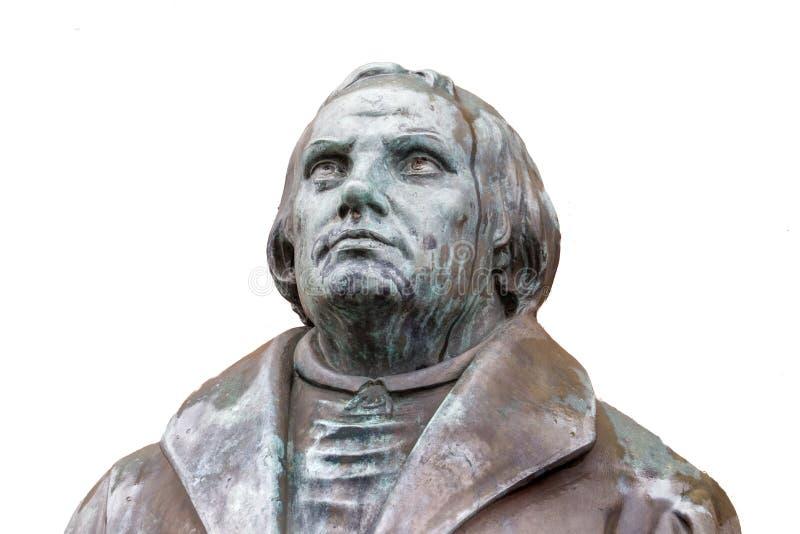 改革者马丁・路德的古铜色雕象在路德c前面的 库存图片