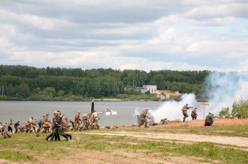 攻击德国俄国战士 免版税图库摄影