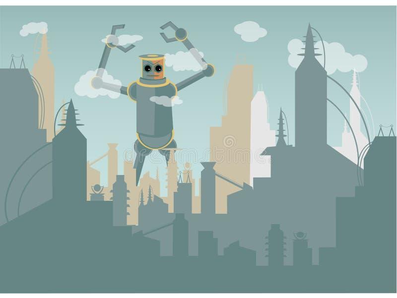 攻击的城市巨人机器人 皇族释放例证