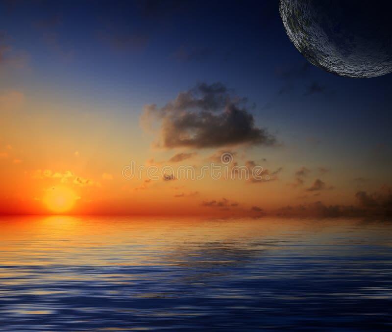 放光太阳美丽的反映的天空 库存图片