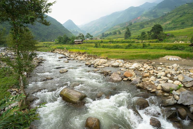 放出与岩石和米领域在露台在越南的北部 免版税库存图片