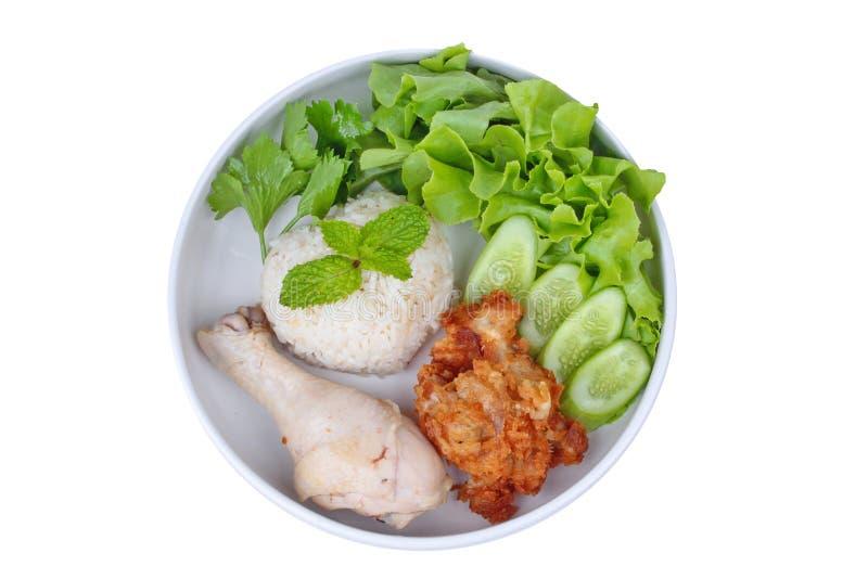 放出的油腻的茉莉花米和放出的鸡电话作为Hainanes 免版税库存图片