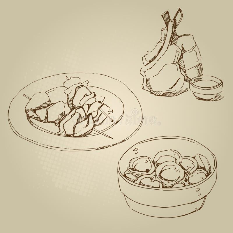 放在架子上的羊羔,鸡kebab,与肉集合的饺子 皇族释放例证