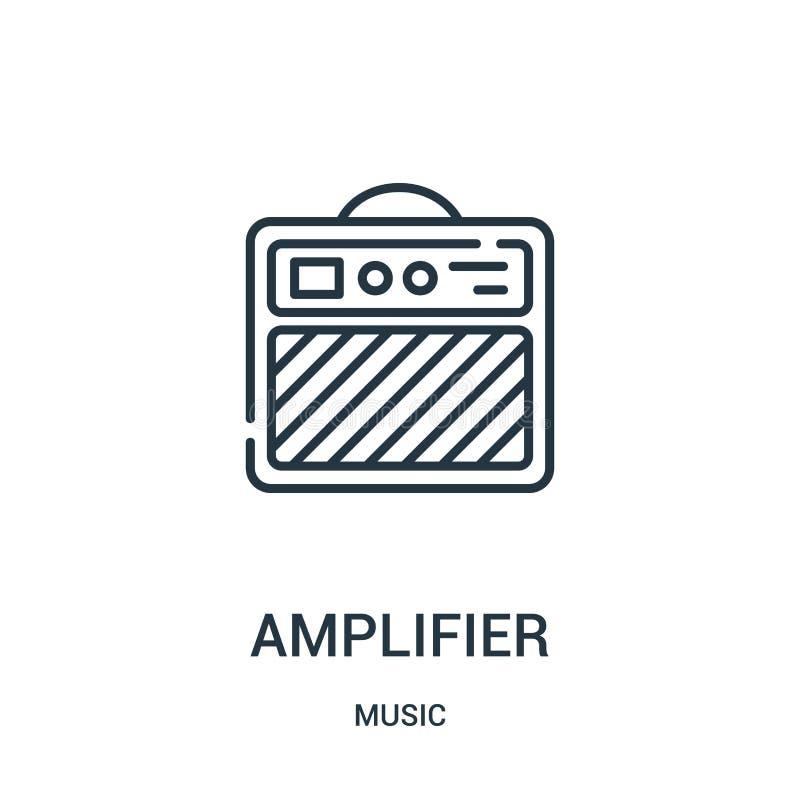 放大器从音乐汇集的象传染媒介 稀薄的线路放大器概述象传染媒介例证 库存例证