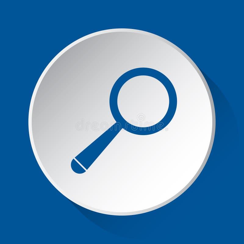放大器-在白色按钮的简单的蓝色象 库存例证