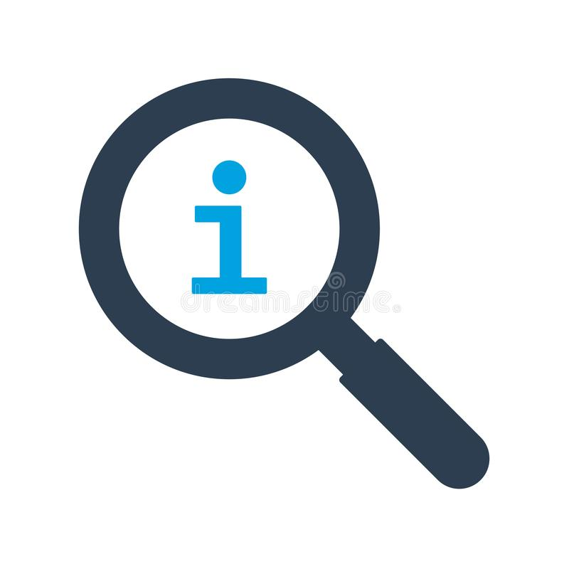 放大镜和信息标志象 库存例证