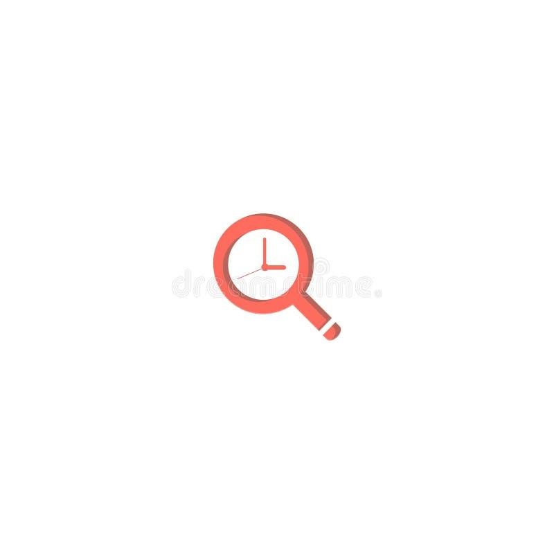 放大镜和时钟商标设计 标志丹象传染媒介模板 皇族释放例证