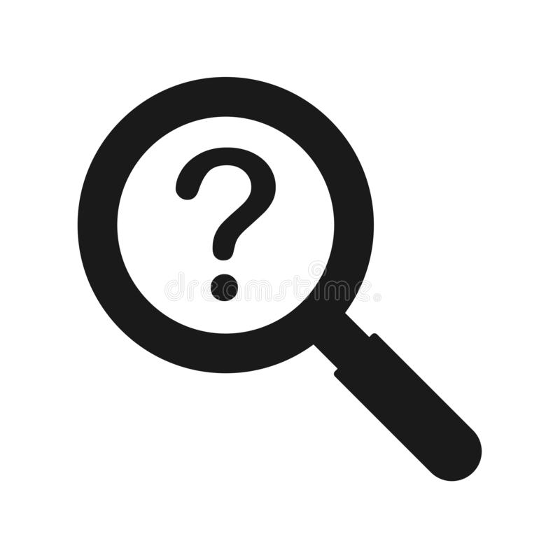 放大镜和问号标志象 库存例证