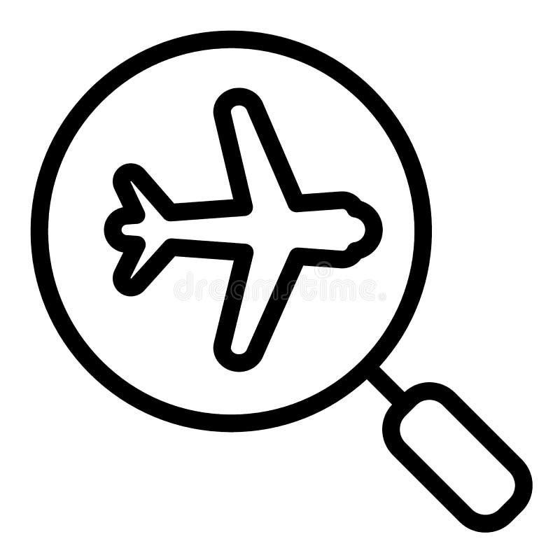 放大镜和飞机线象 搜寻飞行在白色隔绝的传染媒介例证 飞机和放大器 向量例证
