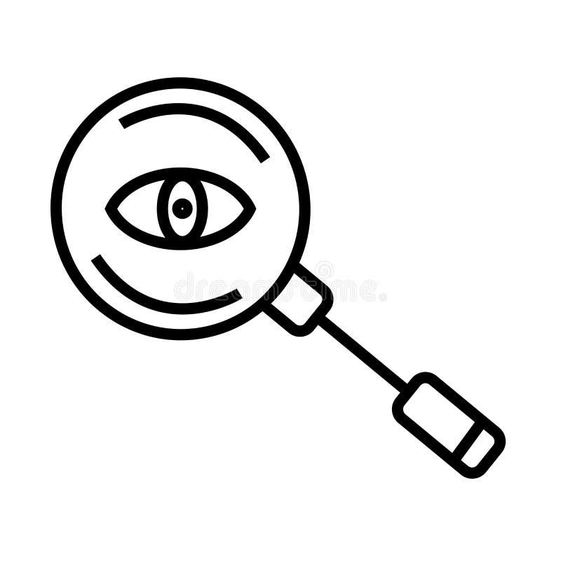 放大镜搜寻者象在白色背景和标志隔绝的传染媒介标志,放大镜搜寻者商标概念 向量例证