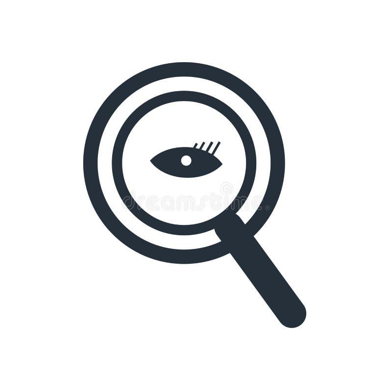 放大镜搜寻者象在白色背景和标志隔绝的传染媒介标志,放大镜搜寻者商标概念 库存例证