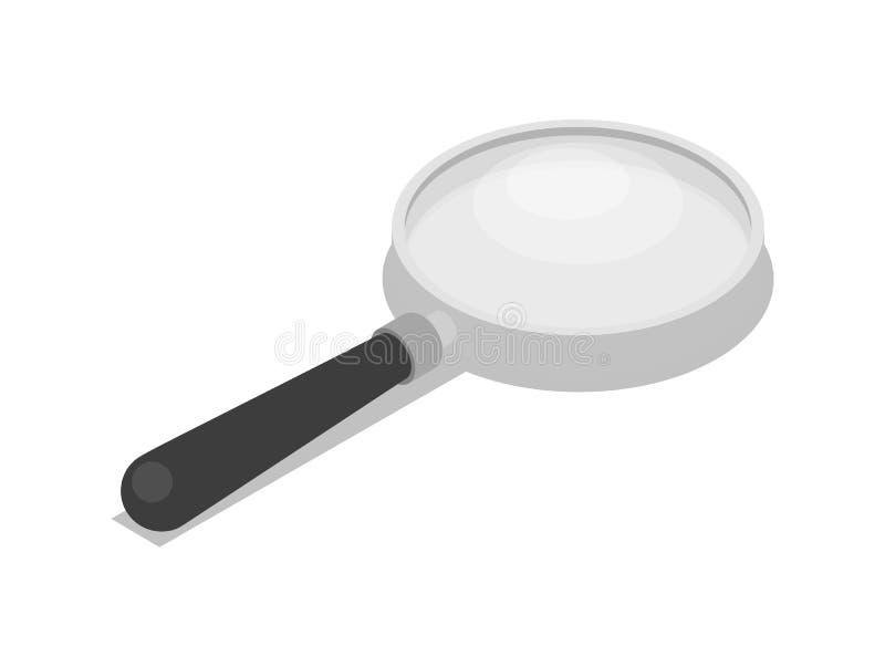 放大镜被隔绝的3d等量象 库存例证