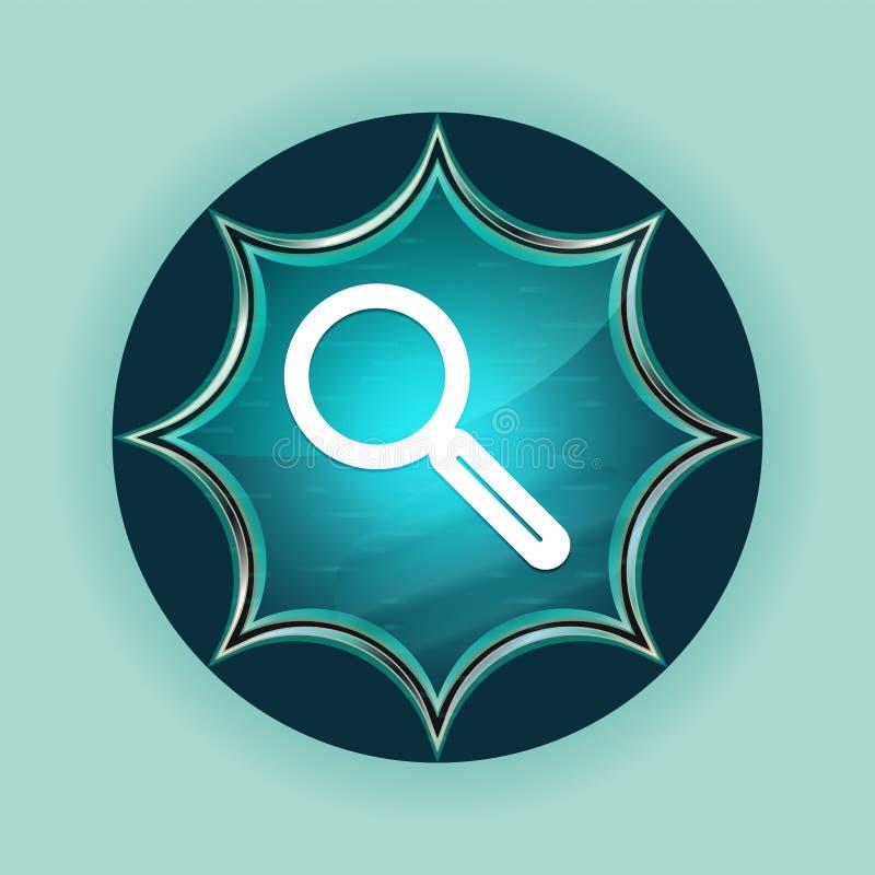放大镜象不可思议的玻璃状镶有钻石的旭日形首饰的蓝色按钮天蓝色背景 库存例证