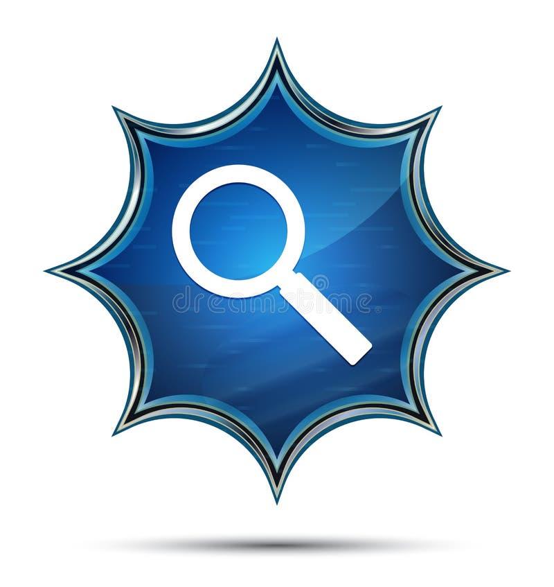 放大镜象不可思议的玻璃状镶有钻石的旭日形首饰的蓝色按钮 向量例证