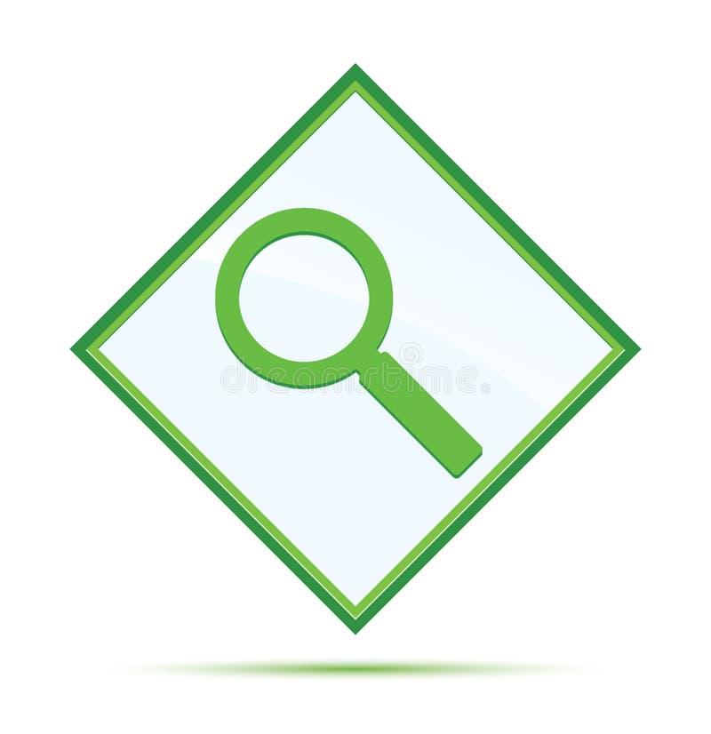 放大镜象现代抽象绿色金刚石按钮 库存例证