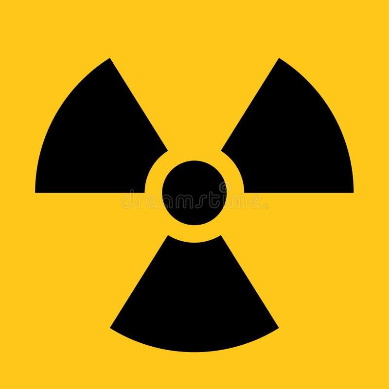 放射性材料标志 辐射戒备、危险或者风险的标志 在黑的简单的平的传染媒介例证和 库存例证