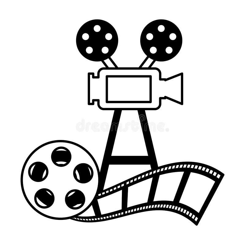 放映机照相机和卷轴小条生产影片 库存例证