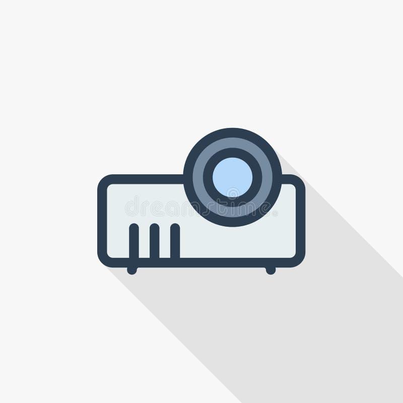 放映机,介绍和遇见稀薄的线平的颜色象 线性传染媒介标志 五颜六色的长的阴影设计 库存例证