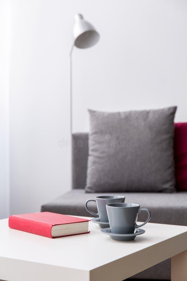 放松与书和茶 免版税库存图片