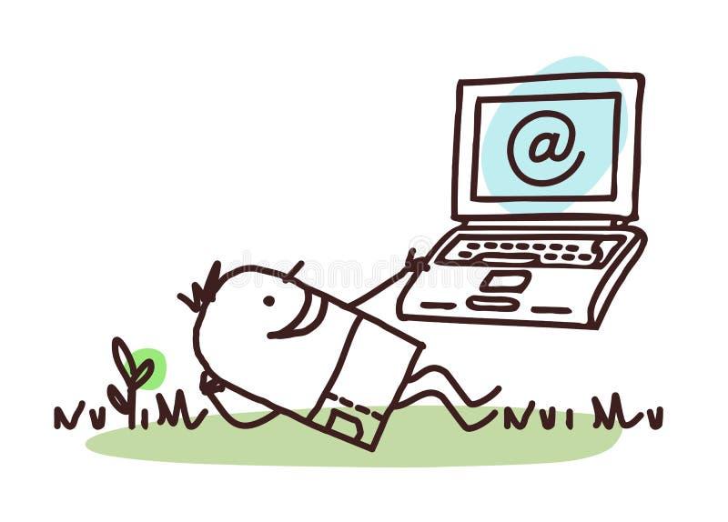 放松与他的膝上型计算机的动画片人 库存例证