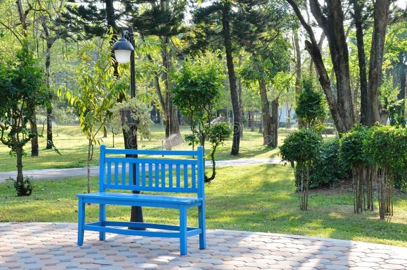 蓝色长木凳在庭院里 库存照片