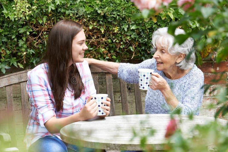 放松与祖母的少年孙女在庭院里 库存图片