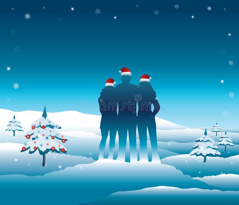 放松和享受在寒假旅行的家庭美好的多雪的山景 皇族释放例证