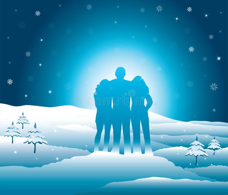 放松和享受美好的多雪的山景的家庭 皇族释放例证