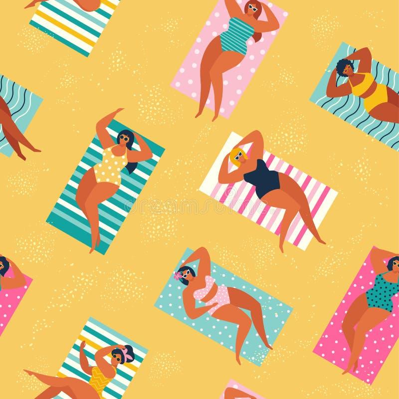 放松和执行休闲室外活动的海滩或海滨的人-晒日光浴,看书,谈话,走, 皇族释放例证