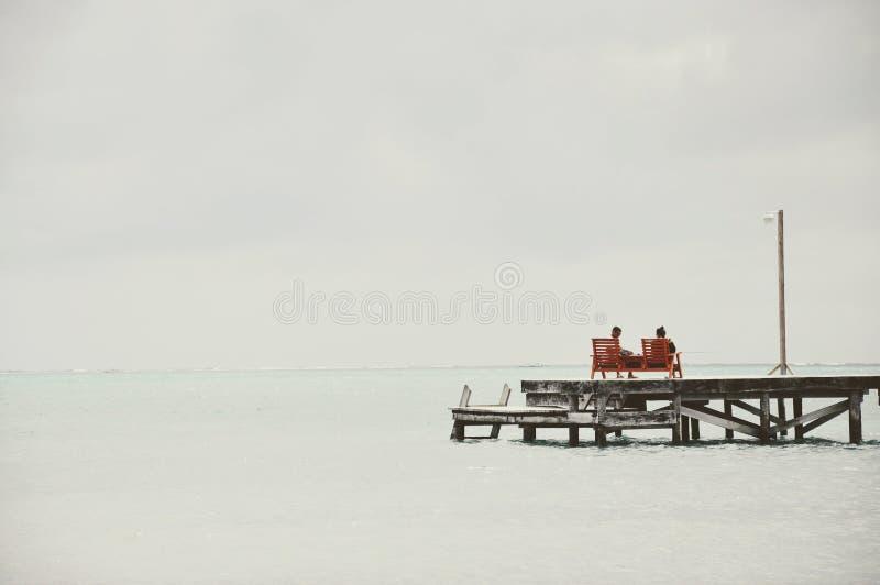 放松在一个海滩在伯利兹 免版税图库摄影