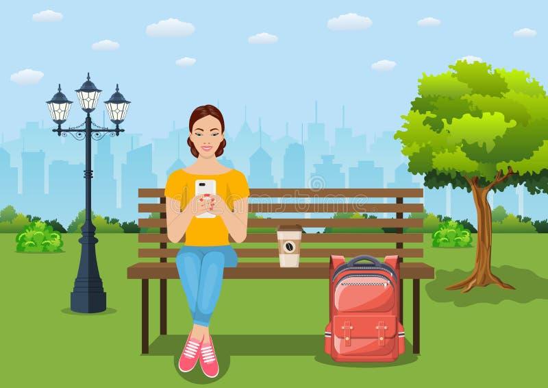 放松在与智能手机的长凳的少妇在公园 向量例证