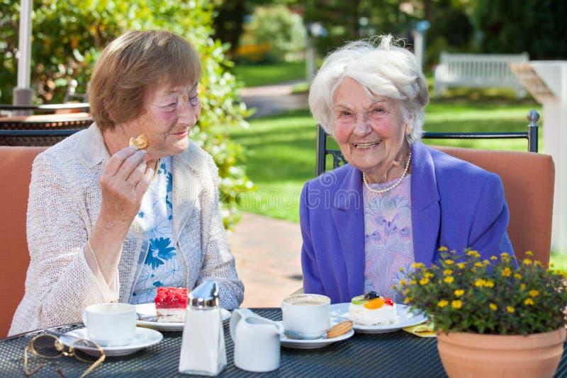 放松在庭院表上的快乐的老妇人 免版税库存照片