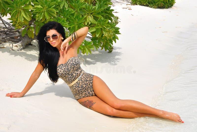 放松在海滩的肉欲的深色的夫人。 库存图片