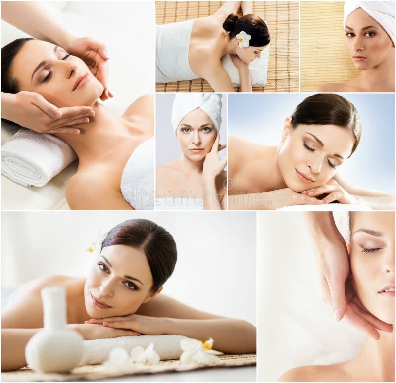 放松在温泉汇集的妇女 健康、裂缝合拢、回复、医疗保健和芳香疗法 免版税库存图片