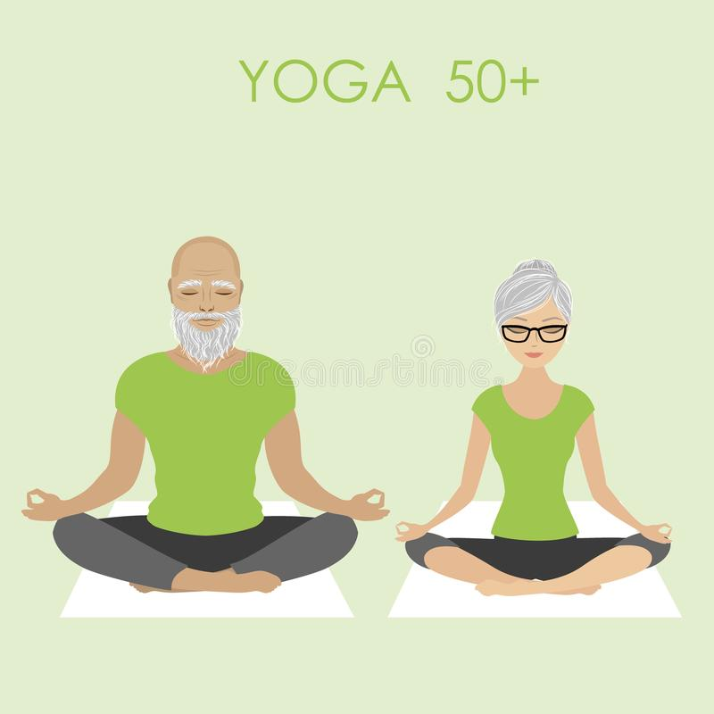 放松在瑜伽姿势的老年人夫妇 库存例证