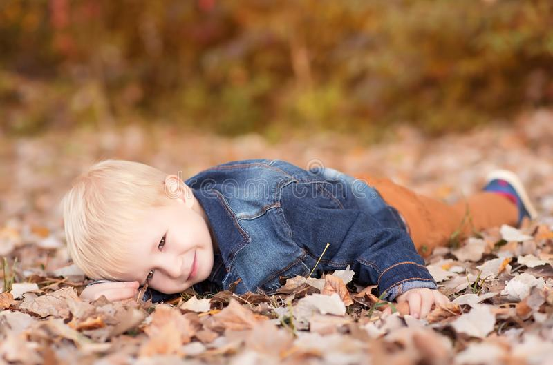 放松在秋天公园的小男孩 库存图片