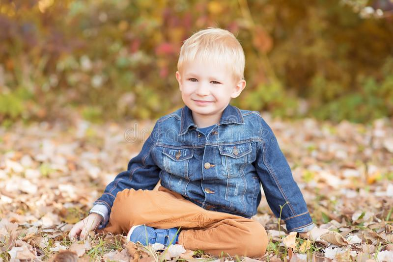 放松在秋天公园的小男孩 免版税库存图片