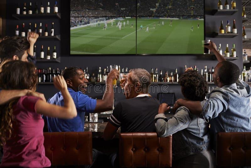 放松在酒吧和做多士的朋友背面图  免版税库存图片