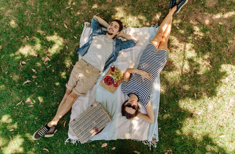 放松在野餐的夫妇在公园 库存照片