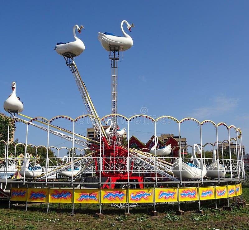 放松娱乐中心白色天鹅天鹅鸟转盘吸引力公园的儿童孩子室外在城市 家庭周末 免版税库存图片