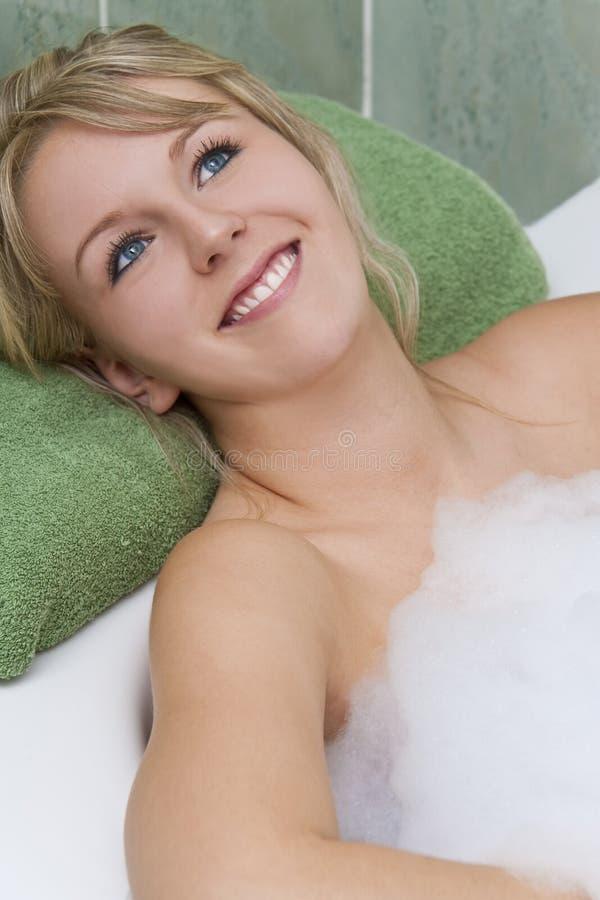 放松浴的泡影 库存图片
