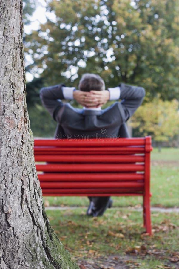 放松生意人的公园 免版税库存照片