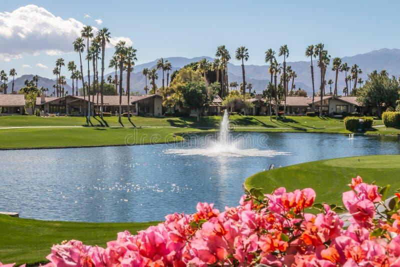 放松的乡村俱乐部视图在棕榈泉,加利福尼亚 免版税库存图片