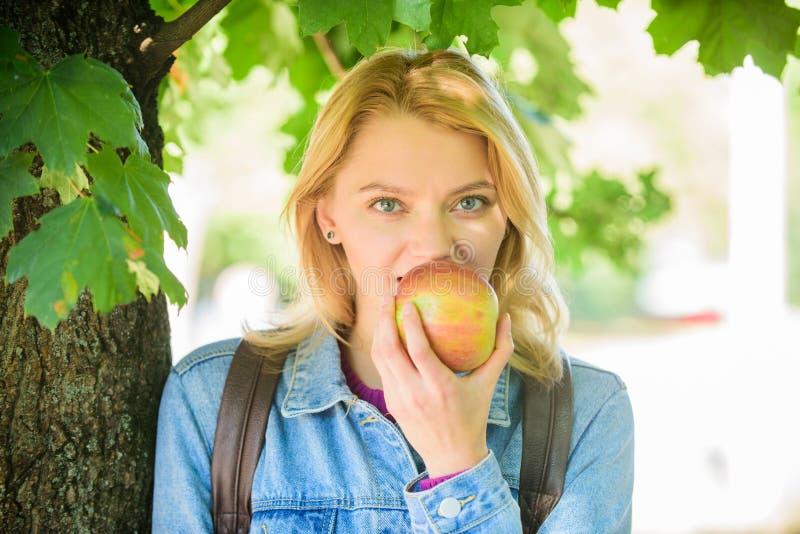 放松的作为分钟 快餐的断裂 学生吃苹果果子defocused自然的背景 健康快餐 女学生 免版税图库摄影
